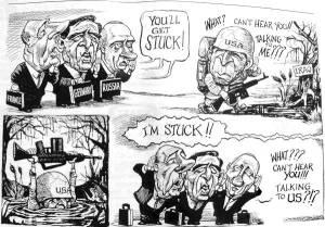 CaricatureBushChiracShroederPutinIrak_TheEconomist_2003-09-10
